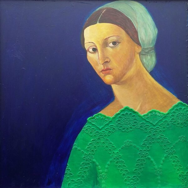 Lady in Waiting III, mixed media, 60 x 60cm. (sold)
